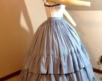 Made to order Victorian Civil War reenactment petticoat with ruffles