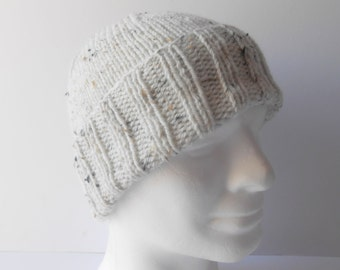 Cuffed Beanie Knit Men's Hat. Watchman's Cap. Warm Skiing hat. Outdoor mens cap. Winter hat. Toque beanie hat. Boyfriend hat. Ready to ship.