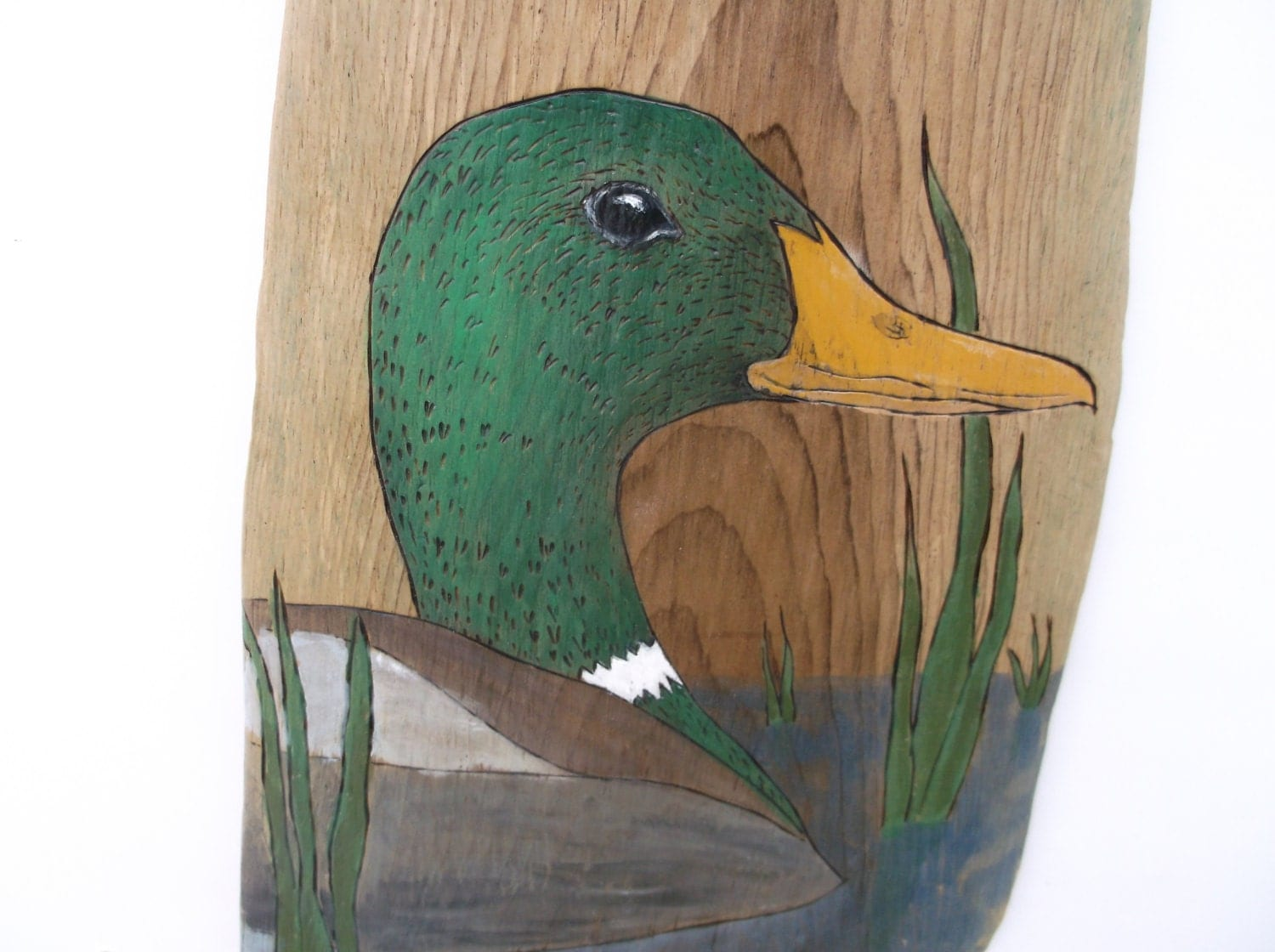 duck on driftwood male mallard duck wildlife decor home