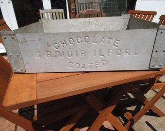 vintage Aluminium Retailers Tray - G R Muir Ilford Chocolate Coated