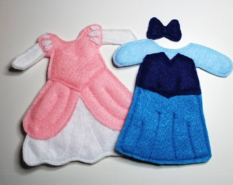 Ariel Blue and Pink Dresses Felt Quiet Book Princess Dress Up Doll (Dresses Only)