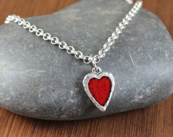 Rustic Romantic ~ Enameled Heart ~ antiqued silver necklace