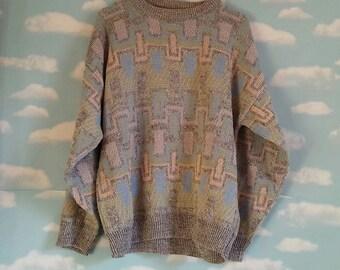 Pastel 1980's Knit Grey Sweater