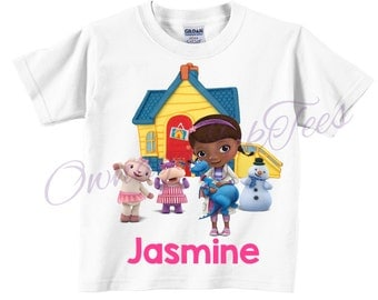Doc Mstuffins Custom T-Shirt, PERSONALIZE with Name, Perfect Birthday Gift!