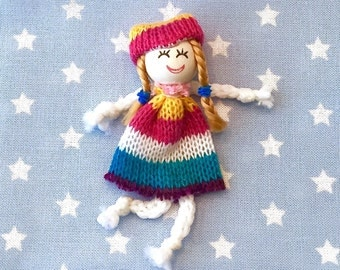 Red blue patch baby doll