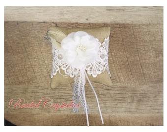 Rustic Ring Pillow/Burlap/ Lace Flower/ Wedding Ring Pillow/ Bearer