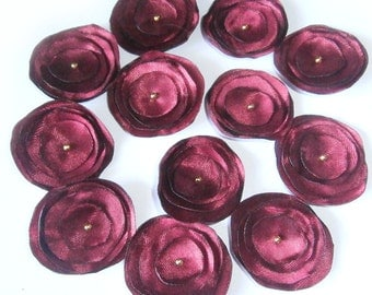 Wine Red Satin Fabric Flowers, Set of 12 Flowers, Flower Embellishment, Flower Appliques, Wedding Flowers, Christmas Decor, DIY Christmas
