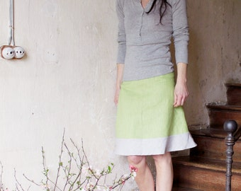 Linen A-line skirt in two colors, Knee length skirt, Eco friendly