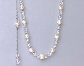 Pearl Back Drop Necklace, Swarovski Pearl Bridal Necklace, Y Necklace & Back Drop - Option, Bridesmaid Jewelry
