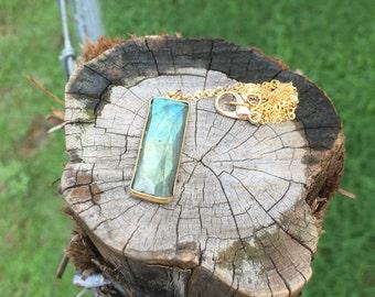 Labradorite and Gold Pendant Necklace