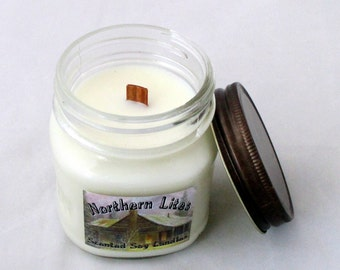 8 oz wood wick candle, choose scent, mason jar candle, soy candle, container candle, scented soy candle, unique candle, soy wax candle
