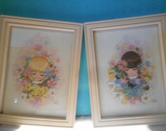 Vintage Art Prints, 2 Vintage Framed Prints by A. Gruero, Kitsch Vintage Art