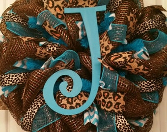 Monogram Leopard | Cheetah and Turqouise Everyday Deco Mesh Wreath