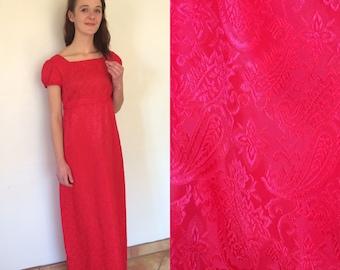 Empire Waist Maxi Dress//Long Red Dress//Jane Austen Regency Gown with Cap Sleeves