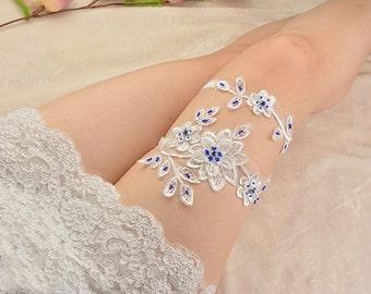 bridal garter, white lace garter, wedding garter set, bride garter set, vintage garter,something blue bridal garter, toss garter,