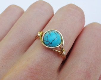 Wire ring, gold wire ring, gold ring, dainty gold ring, turquoise stone ring, turquoise ring, gemstone ring, stone ring, gemstone wire ring