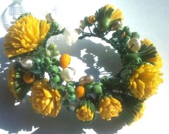 Dandelions Yellow flowers Yellow Bracelet Bracelet whis dandelions  Spring bracelet Spring Flowers Bracelet for women Ideas for gifts