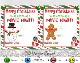 Redbox Codes gift Tags Cards Digital Printable 4  Different Designs Merry Christmas to all and to all a Movie Night  REDBOX Code Movie Gifts