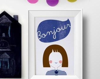 French poster art prints - Bonjour art print - French girl gift - Bonjour sign decoration -Nursery decor -Nursery art -kids wall decor ideas