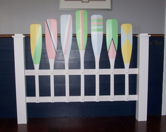 Nautical pastel full size headboard (free shipping), Cottage headboard, Lake headboard, Pastel headboard, Paddle headboard