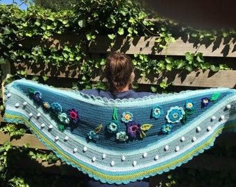 Crochet shawl stole flowers boho ibiza