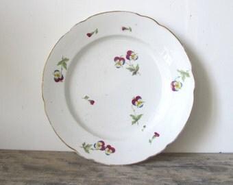 Antique Rare 1800s NYON Switzerland Fine porcelain flowers pansies side plate