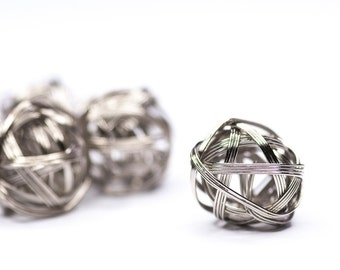 5pics Metal Bundle Ball, Jewelry Supplies, Metal Beads, Silver Color Ball Beads, 20mm, Spacer Beads, Ball Charm, Wire Ball Bead