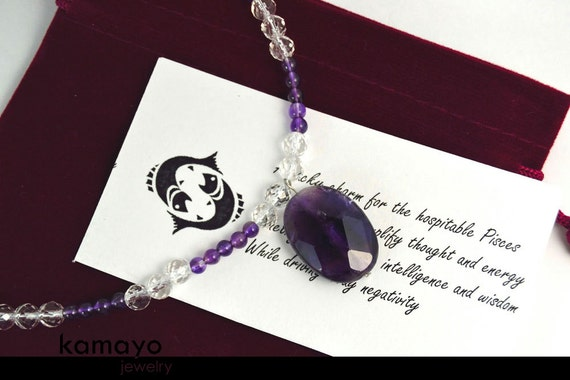 PISCES CHARM NECKLACE - Amethyst Pendant and Clear Quartz Beads - 17.75 Inches