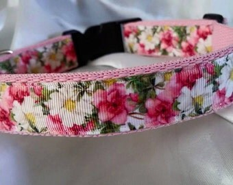 Handmade Pink Tea Rose Dog Collar