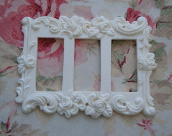 Shabby and Chic Roses & Flourish Triple Rocker Wall Plate French Country