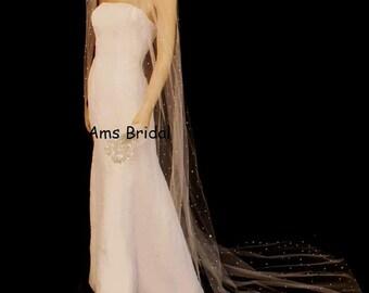 25% Crystal Wedding Veil Cut Edge Wedding Veil, Scattered Crystal Wedding Veil