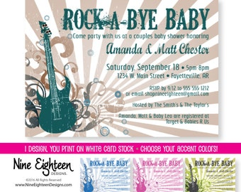 Rocker Baby Shower Invitation, Rock-A-Bye Baby, Rock N Roll Theme. Customized PRINTABLE PDF/JPG invitation.