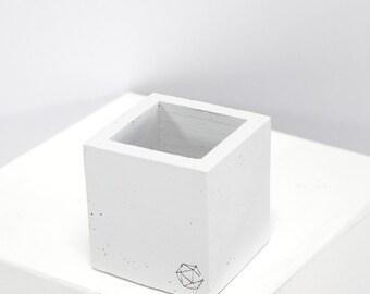 Béton géométrique Original mini cube blanc