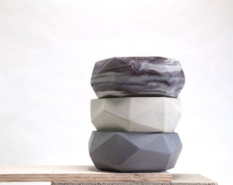 Concrete Geometric Large Bowl
