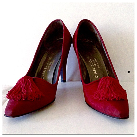 CHARLES JOURDAN Silk Moire Red Shoes Sz 8.5 Made in France