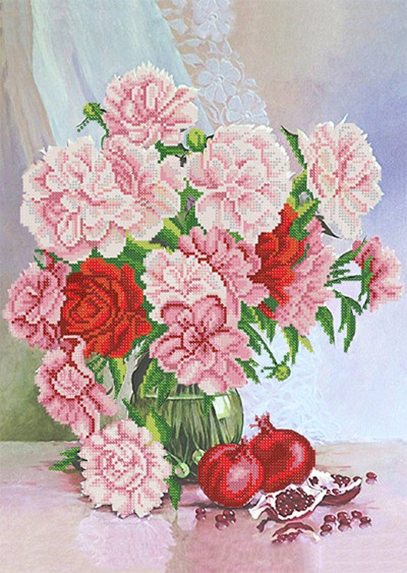 Peony and Pomegranate bead embroidery DIY set, wall decor, craft kit, houswarming gift idea