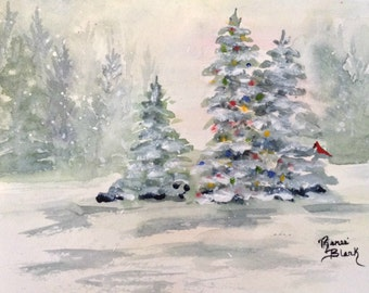 "This is a print of my original watercolor painting titles ""Christmas Morn"" 5x7,8x10,11x14,wrapped canvas, note cards"
