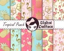 Flamingo Digital Paper, Gold Pineapple, Digital Paper: Summer, Scrapbook Page Kits, Tropical Punch