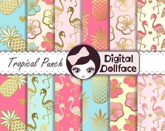 Flamingo Digital Paper, Gold Pineapple, Digital Paper: Summer, Scrapbook Page Kits, Tropical Punch
