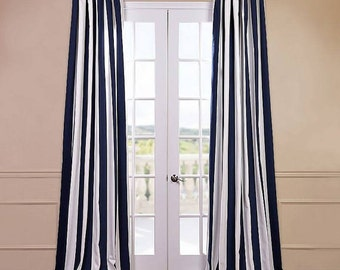 Navy And White Curtains Etsy Your Place To Buy And Sell