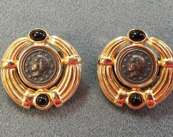 """Very Eighties """"Ancient Coin"""" Clip Earrings -Free since"""