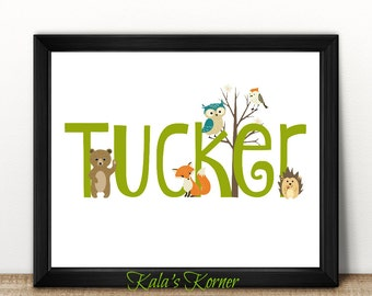 FOREST ANIMAL DECOR - Custom Name Print - Personalized Wall Art   - Woodland Wall Decor - 8x10 Unframed Print - Custom print