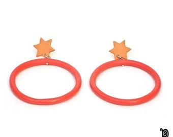 Woman earrings - maxi pendant - circle and star - salmon