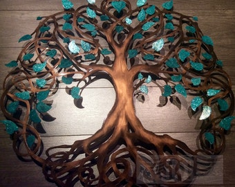Elegant Teal Sparkle Tree Of Life Infinity Tree Wall Decor Wall Art Metal Art
