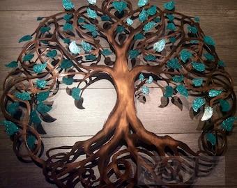 Teal Sparkle Tree Of Life Infinity Tree Wall Decor Wall Art Metal Art