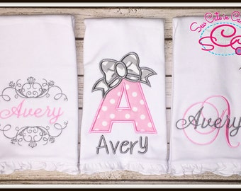 Boutique Ruffle Monogrammed Burp Cloths Set