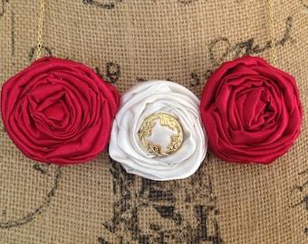 Red Rosette Bib Necklace