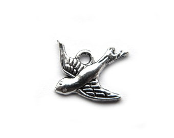 10 Silver Bird Charms - Swallow