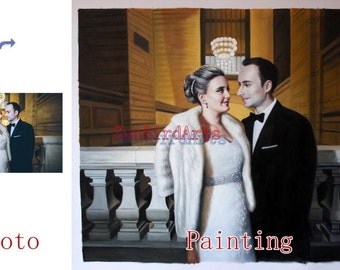 Custom portrait painting,Wedding oil portrait,oil painting from photo,order hand painted oil paintings,Two Person