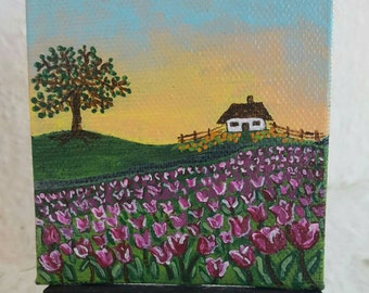 Twilla's Tulip Field. Free easel and shipping with purchase.